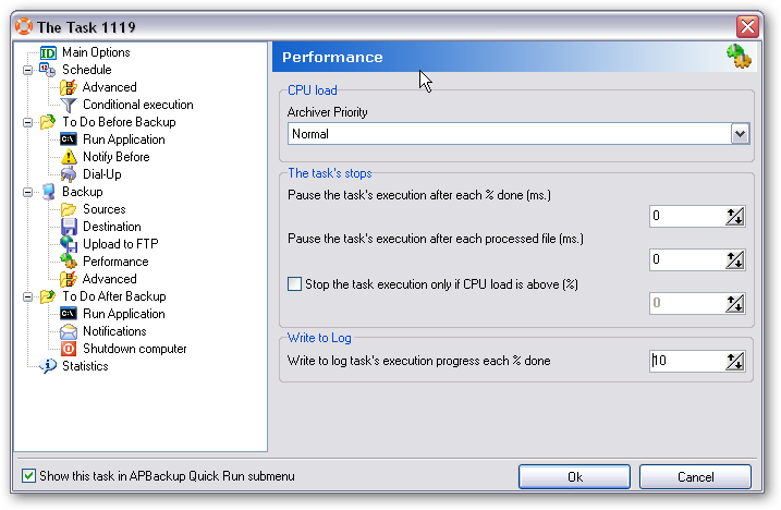 APBackup performance log